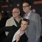 Derek Haas (L) with co-creator Michael Brandt (R) and Chicago Fire castmember, Jesse Spencer (C)