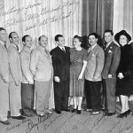 Fibber McGee & Molly Cast (L to R) The Kingsmen, Billy Mills, Jim Jordan, Marian Jordan, Harold Peary, Bill Thompson, Isabel Randolph, Harlow Wilcox
