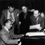 Jack Benny's Writers; L to R: Sam Perrin (seated), Milt Josefsberg, John Tackaberry, George Balzer