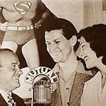 Joan Alexander with Bud Collyer (center) and announcer Jackson Beck (r)