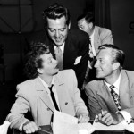 "Richard Denning (R) with Lucille Ball and her ""other"" husband Desi Arnaz."