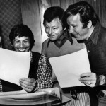 DeForest Kelley center with Leonard Nimoy, left and William Shatner recording voices for 1970s animated Star Trek