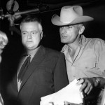 Jeff Chander with Orson Welles (The Set of Man In The Shadow 1957)
