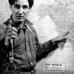 Pat Buttram (pointing to his hometown in Alabama)