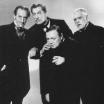 Peter Lorre with L-R Basil Rathbone, Vincent Price, Boris Karloff (Comedy Of Terrors 1963)