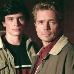 John Schneider (R) with Tom Welling in Smallville